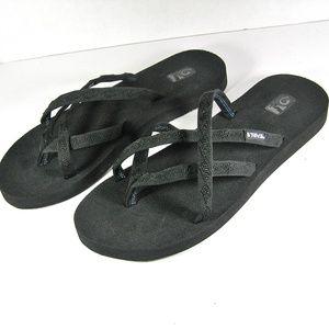 TEVA Flip Flop Black Sandals Thong Womens Size 11